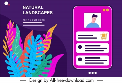 ecommerce advertising banner smartphone interface leaves decor
