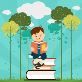 education background boy book stack icons cartoon design