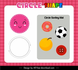 education background circle emblems sketch