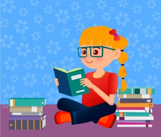 education background little girl reading book ornament