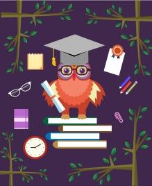 education background owl books studying tools icons decor