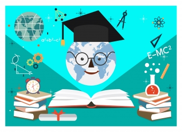 education background design with educational elements vectors stock