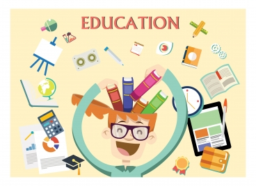 education concept design with funny man illustration