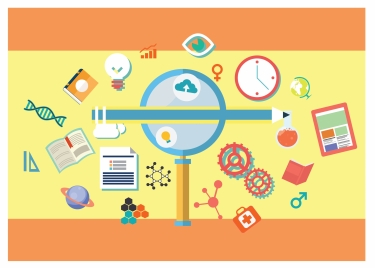 education concept icons with various shapes illustration