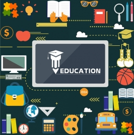 education design elements multicolored objects flat design