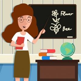 education theme teacher classroom icons cartoon design
