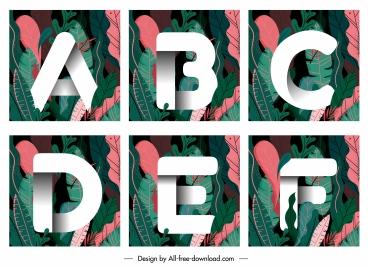educational alphabet templates words leaves decor