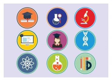 educational icons with round colors illustration