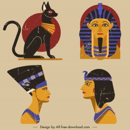 egypt design elements cat human tomb icons sketch