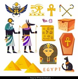egypt design elements retro symbols sketch colorful design