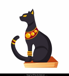 egypt emblem icon imperial black cat sketch