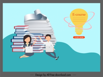 elearning poster lightbulb books stack learners icons sketch