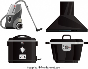 electronic devices icons cleaner ventilator rice cooker sketch