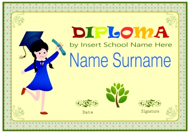 elementary certificate design with cute background