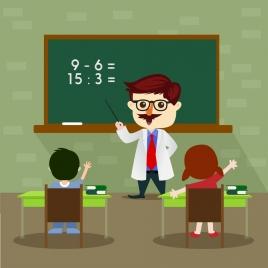 elementary education theme classroom teacher pupil icons