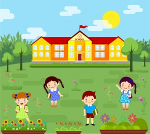 elementary school background colorful cartoon design pupils icons