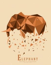 elephant background brown explosive polygonal decoration