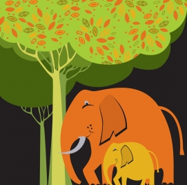 elephant drawing flat multicolored design