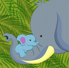 elephant family background motherhood style colored cartoon