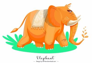 elephant icon cartoon sketch orange decor