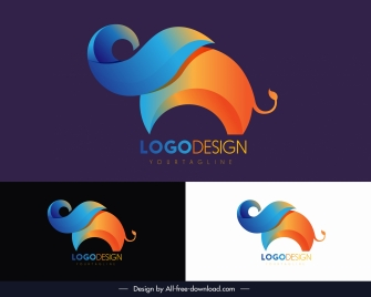 elephant logotype colorful abstract decor
