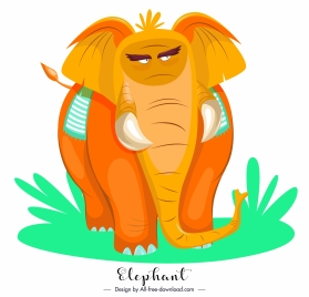 elephant painting cartoon sketch orange design