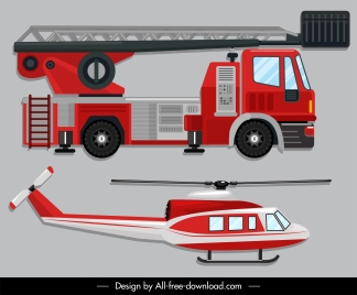 emergency vehicle icons fire fighting car helicopter sketch