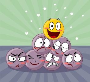 emoticon background positive negative theme cute emoticon design