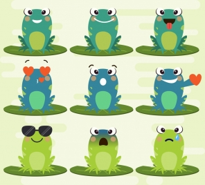 emoticon collection cute green frogs icons cartoon design