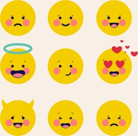 emoticon collection cute yellow circles design
