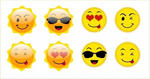 emoticon collection various cute sun icons