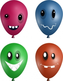 emoticon sets colored balloons icons