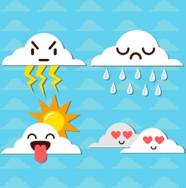 emoticon sets various stylized white clouds icons
