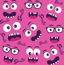 emotion faces background funny design various emoticon