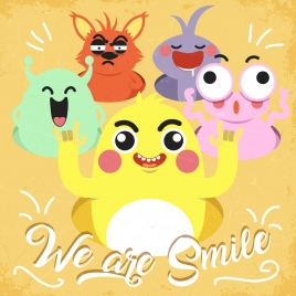 emotional background funny cartoon characters icons
