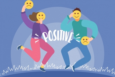 emotional background positive negative theme cartoon characters