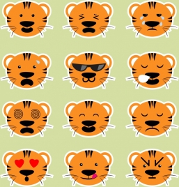 emotional icons collection cartoon tiger head decoration