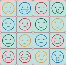emotional icons outline various colored round types