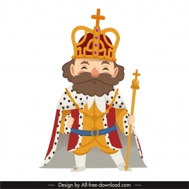 emperor icon old man sketch cartoon design