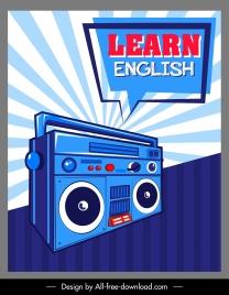 english learning banner retro radio speech bubble sketch
