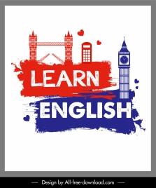 english learning poster landmark symbols sketch grunge decor