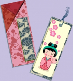 envelop card template classical japanese design elements decor