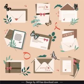 envelope cards icons elegant classical decor