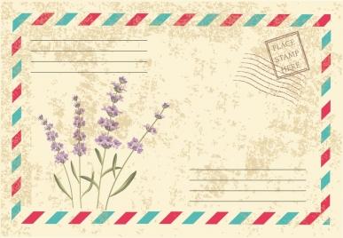 envelope cover design lavender icon retro decoration