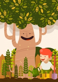 environment background kid planting trees icons stylized cartoon