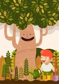 environment background kid planting trees icons stylized cartoon