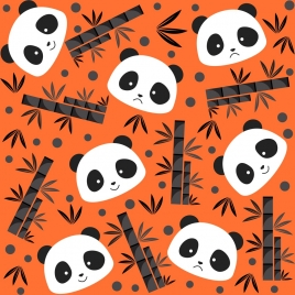 environment background panda face bamboo leaf repeating design