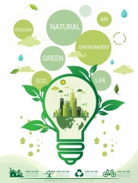 environment banner green lightbulb leaf icons circles decor