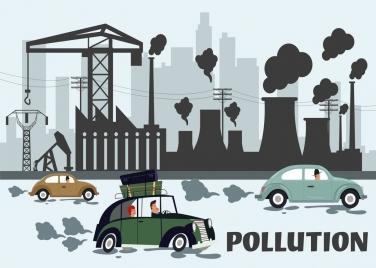 environment banner pollution car plant icons cartoon design