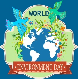 Environment day banner children planting trees globe icons